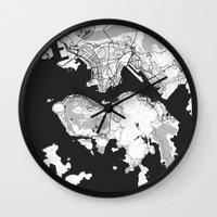 hong kong Wall Clocks featuring Hong Kong Map Gray by City Art Posters