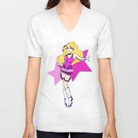 tomb raider V-neck T-shirts featuring Princess Peach Raider by Ashly Picazo