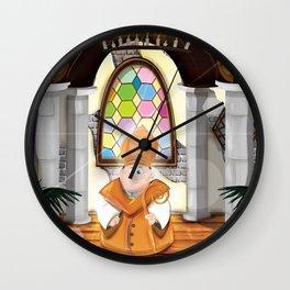 Cartoon Priest in his cosy Church Wall Clock