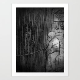 The old man and the monkey Art Print
