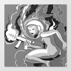 Space Girl with a Gun Canvas Print