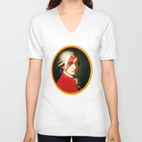 mozart V-neck T-shirts featuring Mozart Bowie by rodalume