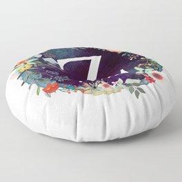 Personalized Monogram Initial Letter Z Floral Wreath Artwork Floor Pillow