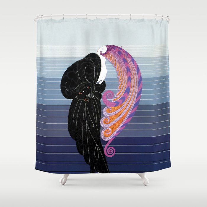 1920s Art Deco Illustration Beauty And The Beast Shower Curtain