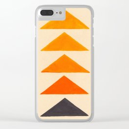 Vintage Scandinavian Orange Geometric Triangle Pattern Clear iPhone Case