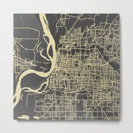 Memphis map yellow Metal Print