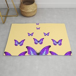 AMETHYST PURPLE BUTTERFLIES FLOCK CREAMY YELLOW Rug