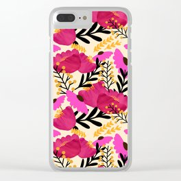 Vibrant Floral Wallpaper Clear iPhone Case