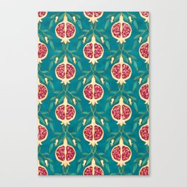 Pomegranate Pattern Teal Background Canvas Print