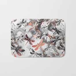 Dragonfly Lullaby in Marble and Rose Gold Bath Mat