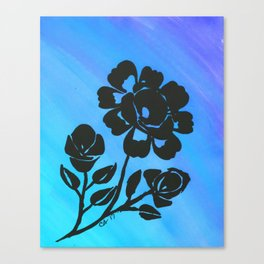 Rose Silhouette with Painted Blue Background Canvas Print