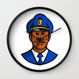 African American Policeman Mascot Wall Clock