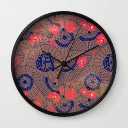 Vintage Japanese Paper Pattern: Ornate Parasols & Flowers Wall Clock
