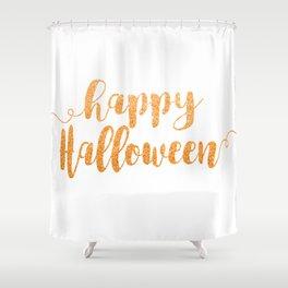 Happy Halloween | Orange Glitter Shower Curtain