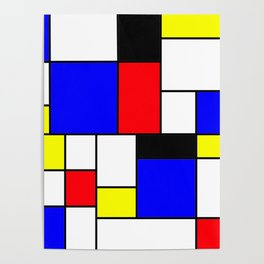 Red Blue Yellow Geometric Squares Poster