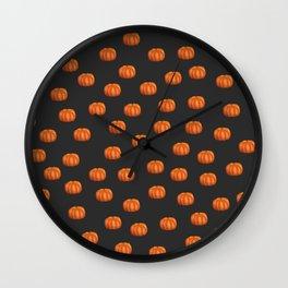 Cute Little Pumpkin Pattern | Autumn/Fall Illustration | Orange & Anthracit | Nature & Seasons Wall Clock