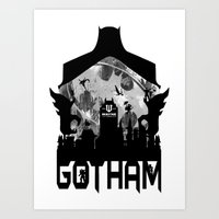 gotham Art Prints featuring Gotham by Vitalitee
