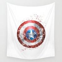 superhero Wall Tapestries featuring Captain . America Shield Superhero by Carma Zoe