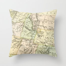 Vintage Map of the West Of The United States Throw Pillow