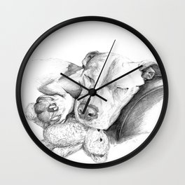 Let Sleeping Dogs Lie :: Grayscale Wall Clock