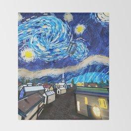 Tardis Art Starry City Night Throw Blanket