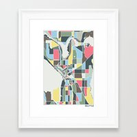 seattle Framed Art Prints featuring Seattle. by Studio Tesouro