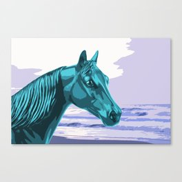 The Blue Horse and the Ocean Canvas Print