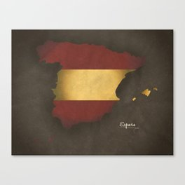 Spain map special vintage artwork style with flag illustration Canvas Print
