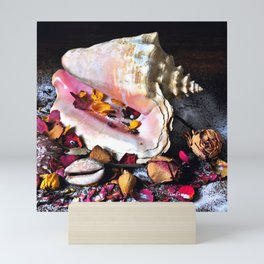 Maritime Symphony with Sea Shells and Roses Mini Art Print