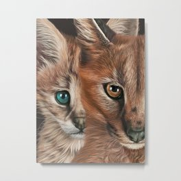 Eurasian lynx and wild kitty. Close-Up Of Serval African Wild Cats. Two Cats Faces. Modern Art Print. Serval Wall Art. Cat lover Gift  Metal Print