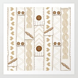 Scarves Knitted Buttoned - Beige Art Print