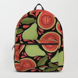 Tropical Guava Fruit Pattern On Black Background Backpack