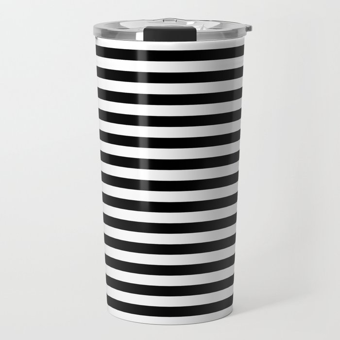Midnight Black and White Horizontal Deck Chair Stripes Travel Mug