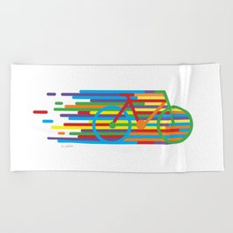 Colourful cycling 2 Beach Towel