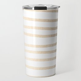 Simply Drawn Stripes in White Gold Sands Travel Mug