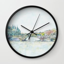 La Seine 1, Paris, France, by Jennifer Berdy Wall Clock