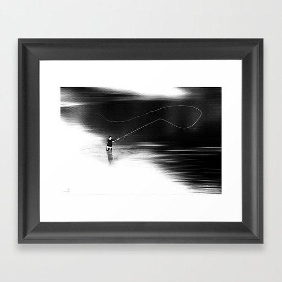 A river runs through it. (dotted) Framed Art Print