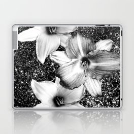 White Lilies on Black Glitter #1 #floral #decor #art #society6 Laptop & iPad Skin