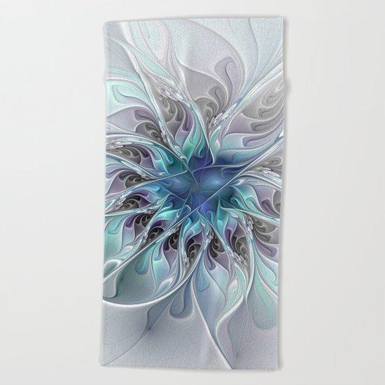 Flourish Abstract, Fantasy Flower Fractal Art Beach Towel