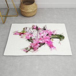 Butterfly and Pink Lantana Rug