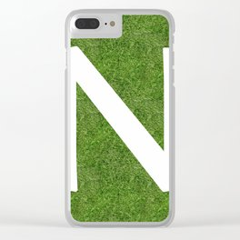 N initial letter alphabet on the grass Clear iPhone Case