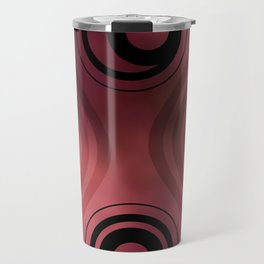 Bold Circle Rings and Wavy Lines on Abstract Blurred Red Patch Background Travel Mug