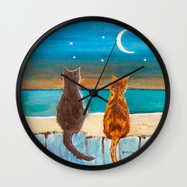 Cats on a Fence Wall Clock