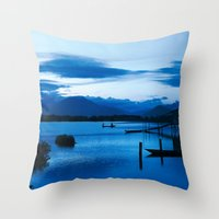 buddhism Throw Pillows featuring BLUE VIETNAMESE MEDITATION  by CAPTAINSILVA