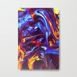 Ice and Fire Fluid Metal Print