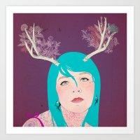 antlers Art Prints featuring Antlers by karolindie