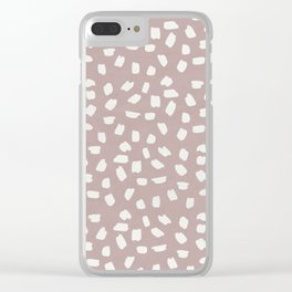 Simply Ink Splotch Lunar Gray on Clay Pink Clear iPhone Case