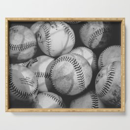 Baseballs in Black and White Serving Tray