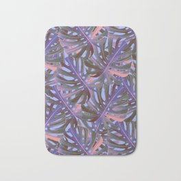 Monstera  Swiss Cheese Plant Leaf Toss in Electric Pink + Sea Blue Bath Mat