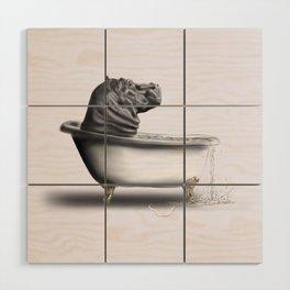 Hippo in Bath Wood Wall Art